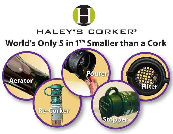 five in one haleys corker wine cork aerator